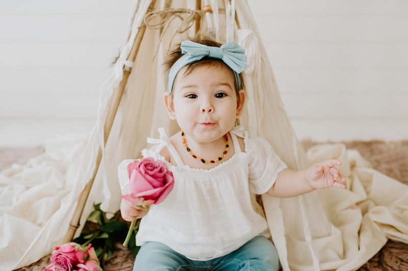 Baby Photography, little girl with a big pink flower