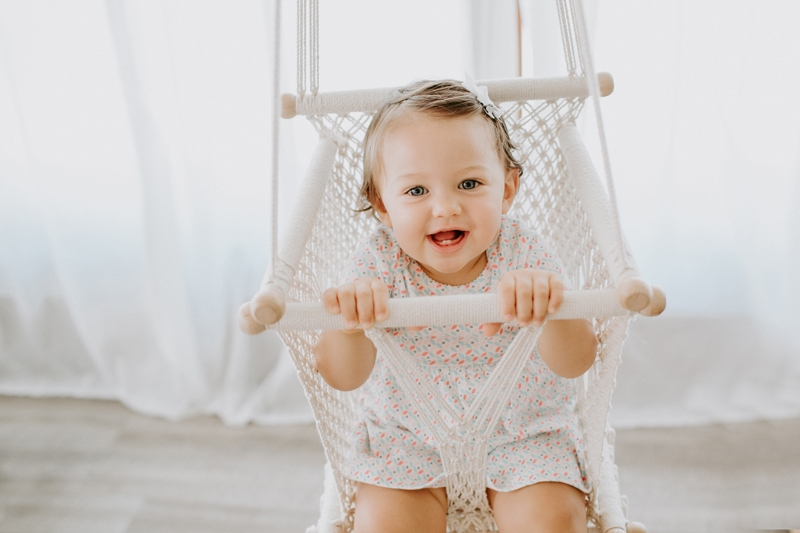 Baby Photography, little girl in a macrame swing