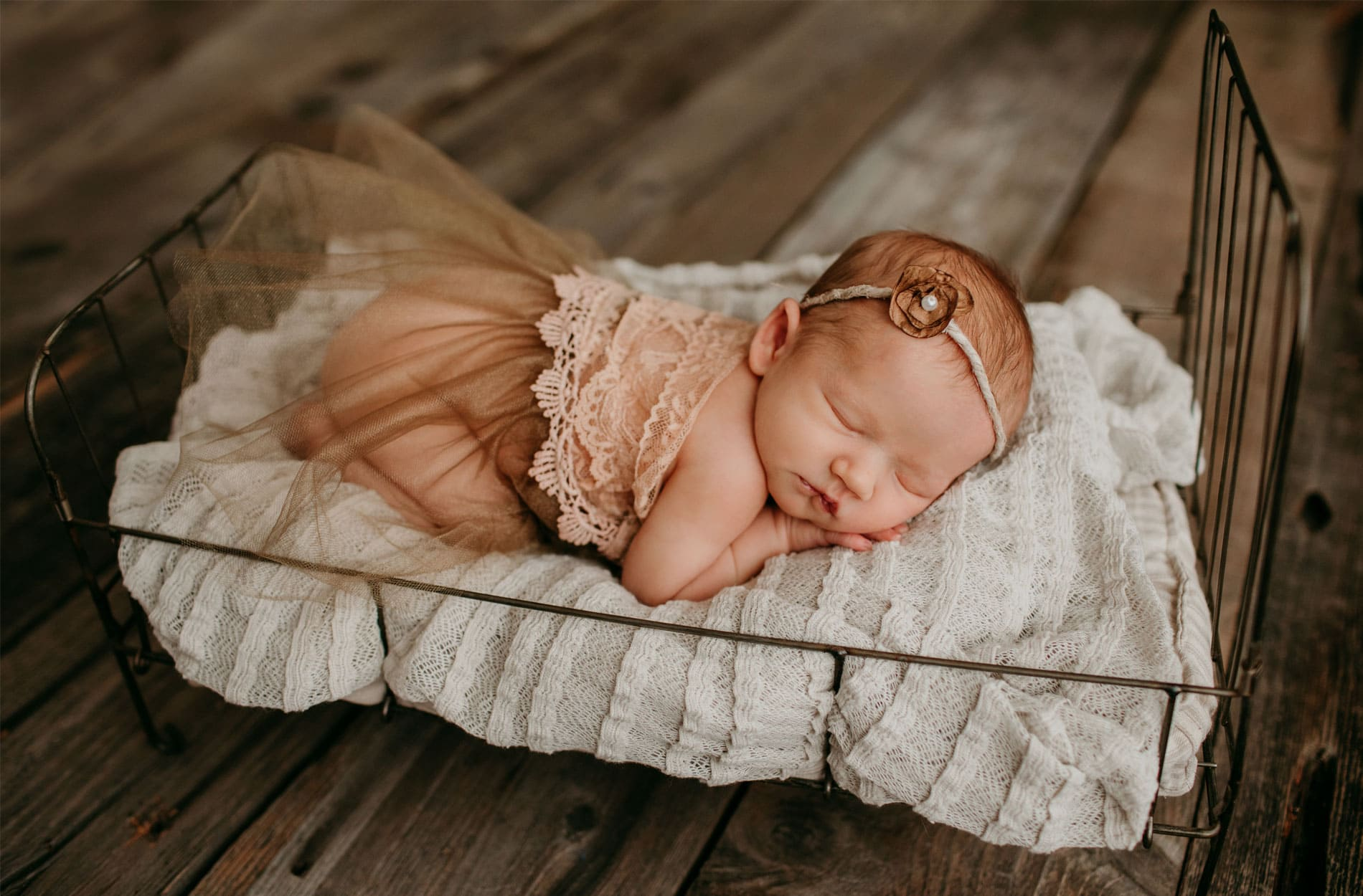 Newborn Photography, baby sleeping on mini bed